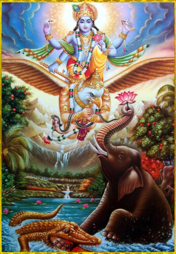 Vishnu and Garuda Art Poster Print. Hinduism Hindu God India Elephant Lotus