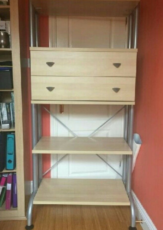 Freestanding Shelving Unit w/ 2 Drawers (Fantastic Condition)