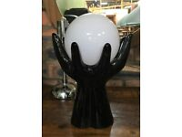 Vintage Black Ceramic 'Hands & Globe' Table Lamp - Rare, Iconic & Great Condition