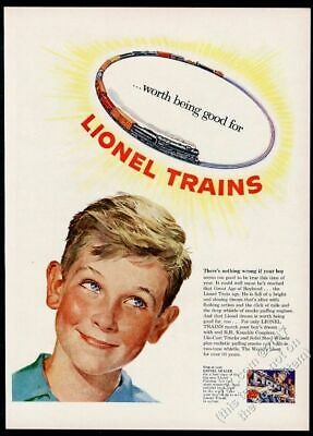 1952 Lionel electric toy train set halo over smiling box Xmas vintage print ad