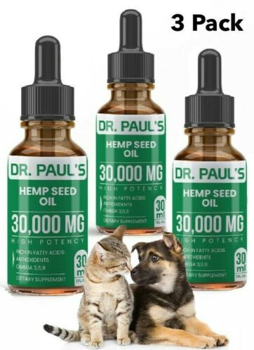 3 Pack Hemp Seed Oil for Dogs ,Cats , Pet Pain Relief, Stress, Anxiety 30,000 mg