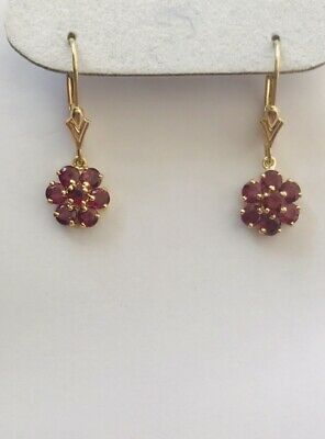 14K Yellow Gold Dangle Lever Back Earring With Round Garnet 1.64Grams