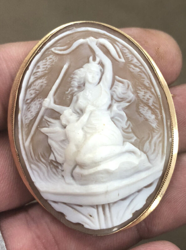 Vintage 18k Yellow Gold Carved Shell Cameo Pin & Pendant Woman & Child