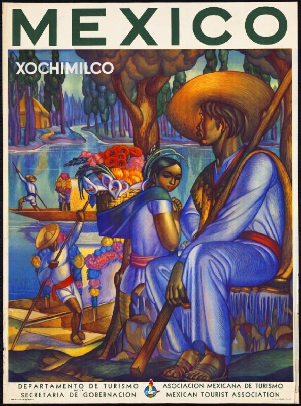 Mexico Xochimilco Mexican Spanish Vintage Travel Advertisement Art Poster