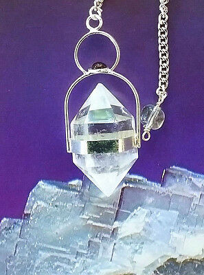 RARE LARGE TIBETAN HERKIMER DIAMOND AND SILVER DOWSING PENDULUM, CHAIN AND POUCH