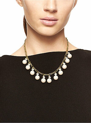 NWT Authentic KATE SPADE Gold-Plated Pearly Delight Necklace with Gift Box
