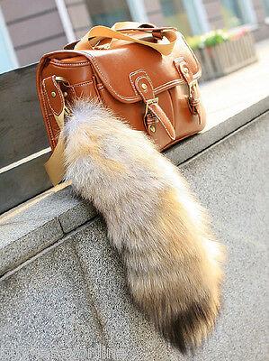 Real Animal Large Luxury Golden Fox Tail Fur Keychain Tassel Bag Tag Charm US