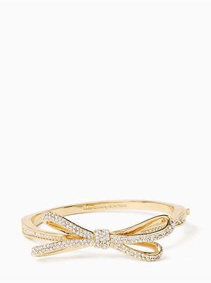 Crystal Hinge - Kate Spade Bracelet Bling Crystal Bow Tied Up Pave Hinge Bangle in Gold*eBucks