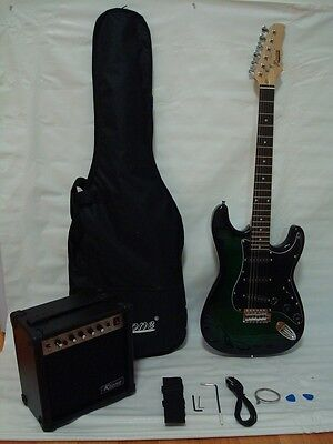 Green/Black Electric Guitar Set with Strap, Cord, Gig bag and 15W AMP on Rummage