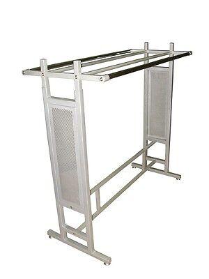 Double Bar Silver Clothing Garment Racks Store Fixture Rack W Glass Shelf Ys15