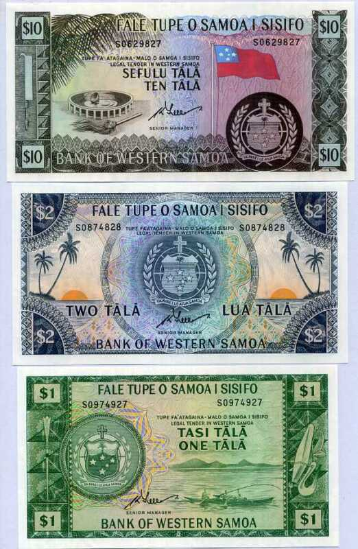 WESTERN SAMOA SET 3 UNC 1 2 10 TALA 1967-2020 OFFICIAL PRINT P NEW