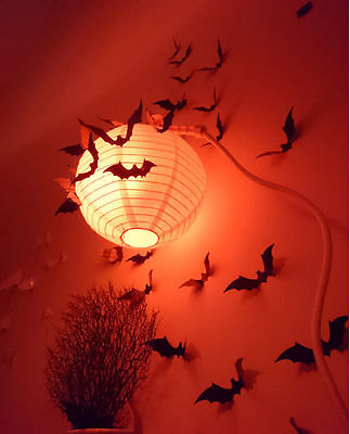 Halloween 12pcs 3D Stereoscopic Bat Wall Sticker Decal Removable Room Decoration - Decoration D Halloween