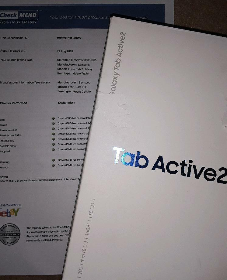 Samsung Tab Active2 (T395) sim card 4G lte / wifi / bluetooth / gps /  compass /nfc | in Blackpool, Lancashire | Gumtree