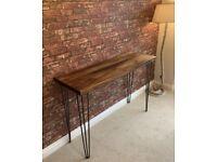 Breakfast bar. High table kitchen hall. Industrial wood bespoke rustic dark oak