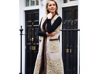 Brand new Long coat sequins wool with handmade floral patterns with 100% authentic mink fur borders