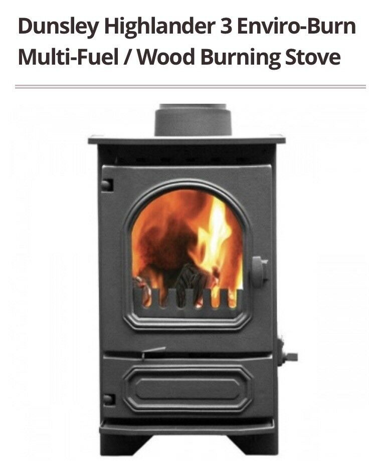 Dunsley Enviroburn Highlander 3 Multi Fuel Wood Burning Stove Used In Good Condition