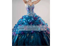 Prom Quinceanera Dress Blue Size 10 - 12 Lace Up Back