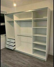 💥💯MUST GO DEALS 2 DOORS SLIDING WARDROBE WITH FULL MIRRORS ALL SHELVES & RAILS INCLUDED