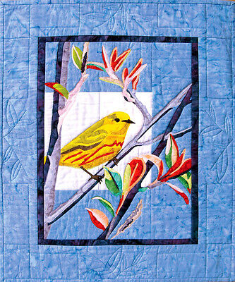 Yellow Warbler Bird Bigfork Bay Fusible Applique Quilt Pattern Brenda Yirsa