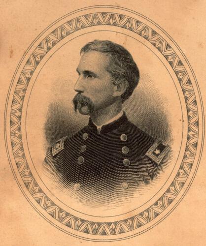 General JOSHUA LAWRENCE CHAMBERLAIN cartouche engraving Antique print w/Mat