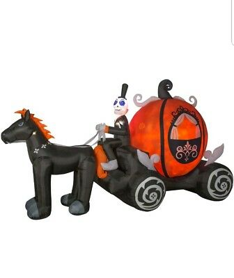 New 11.5 Ft Led Pumpkin Carriage Inflatable Haunted Halloween Projection Horse