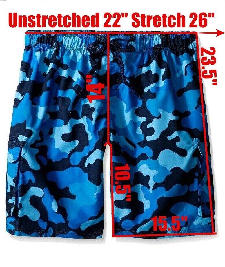 Kanu Surf Swimwear Navy Blue Camo Cargo Swim Board Shorts Me