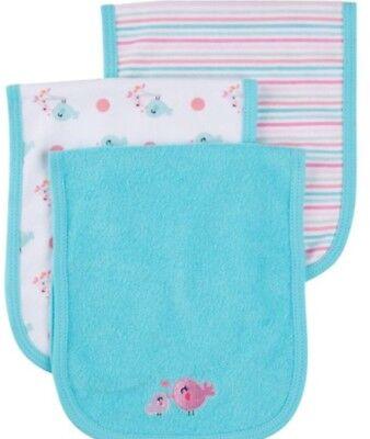 GERBER BABY GIRL'S 3-Pack Terry Burp Cloths - Birds - Green - NWT Gerber 3 Pack Terry