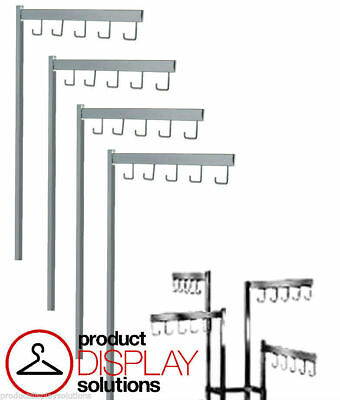 2 4 Way Clothing Rack Replacement Arms With 5 J Hooks Chrome Pack Of 4