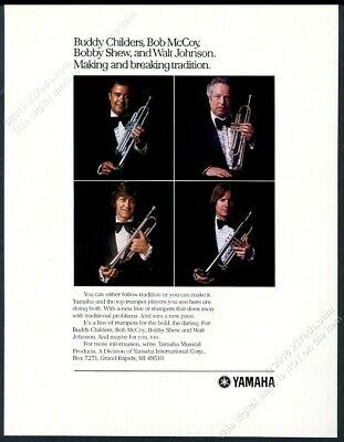 1981 Yamaha trumpet Bobby Shew Buddy Childers Bob McCoy Walt Johnson photo ad for sale  Shipping to Canada
