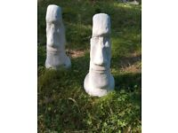 Large Easter Island Heads Homemade Concrete Garden Statues