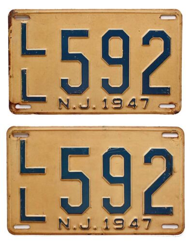 New Jersey 1947 Mercer County License Pair, LL 592, Post WW2, Nice Quality