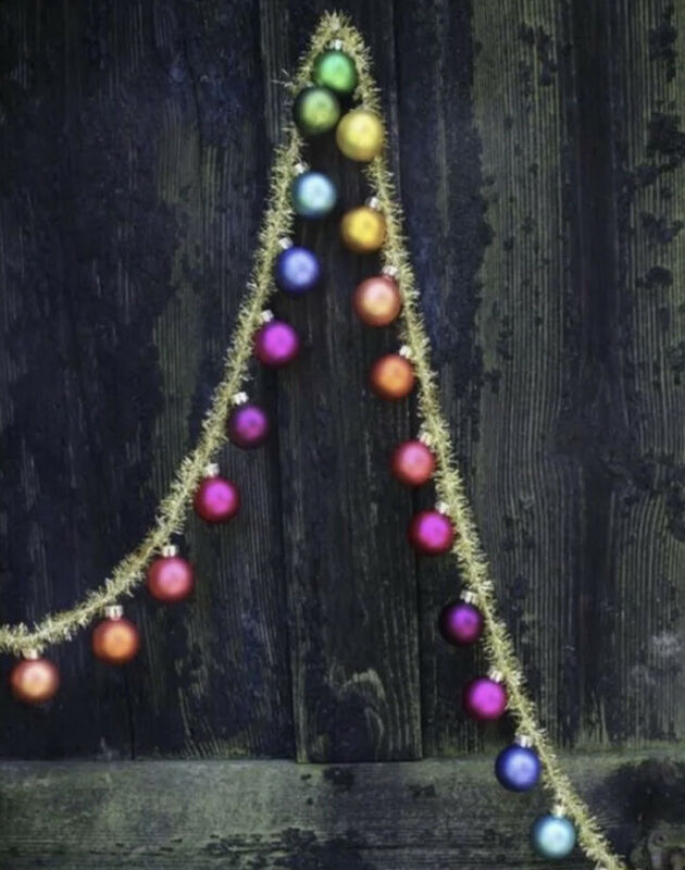New Cody Foster Rainbow Glass Garland With Gold Tinsel 6'