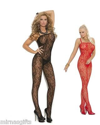 PLUS SIZE LINGERIE LACE BODYSTOCKING O/S REGULAR Q/S QUEEN RED (Red Lace Bodystocking)