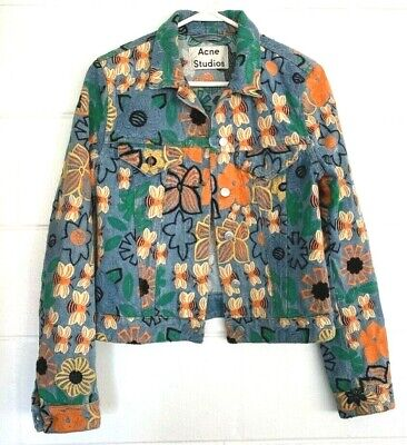 Acne Studios Womens Button Up Denim Jacket Blue Floral Bees Embroidered Italy XS