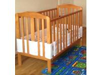 Cot 3 level drop side in antique pine