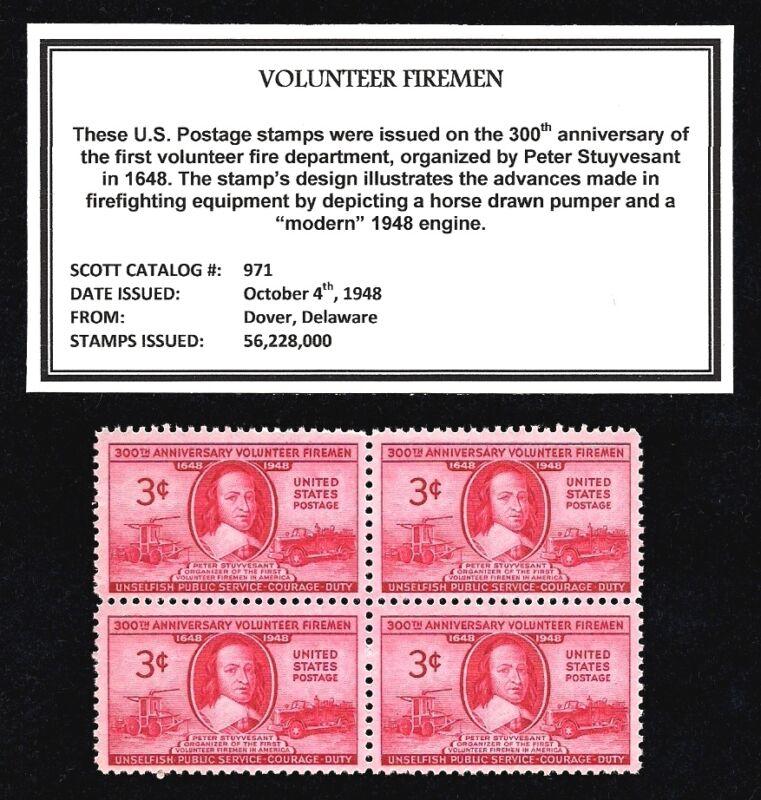 1948 - VOLUNTEER FIREMEN  - Mint, Never Hinged, Block of Four Vintage Postage St