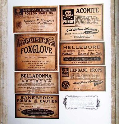 Vintage Style Halloween Poison Bottle Label Stickers Uncut Set of 7](Poison Bottle Labels Halloween)