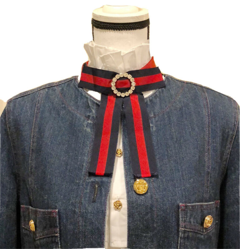 NEW 100% Authentic GUCCI Adjustable Grosgrain Sylvie Web Crystal Bow Tie Brooch
