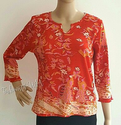 Women's Top Size M Red Long Sleeve Printed Pink Sequin & Beads Pullover