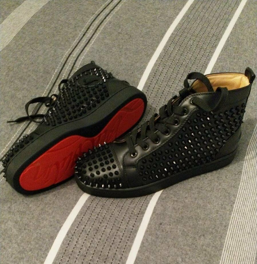 c9f2984f1a14 Christian Louboutin Mens Spike High Top Leather Trainers Size 8 or EU 41