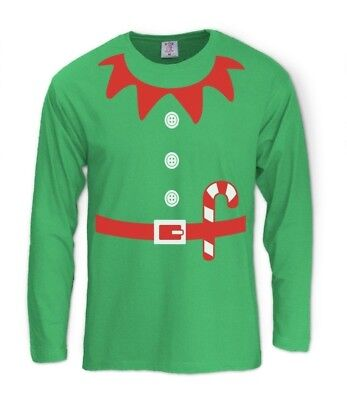 Elves Suit Outfit ELF CHRISTMAS Long Sleeve T-Shirt Crazy Party Gift Idea Granny - Xmas Party Outfit Ideas