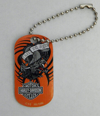 HARLEY DAVIDSON Harley Dragon Logo Dog Tag Zipper Pull Keychain Key Ring 2 ""