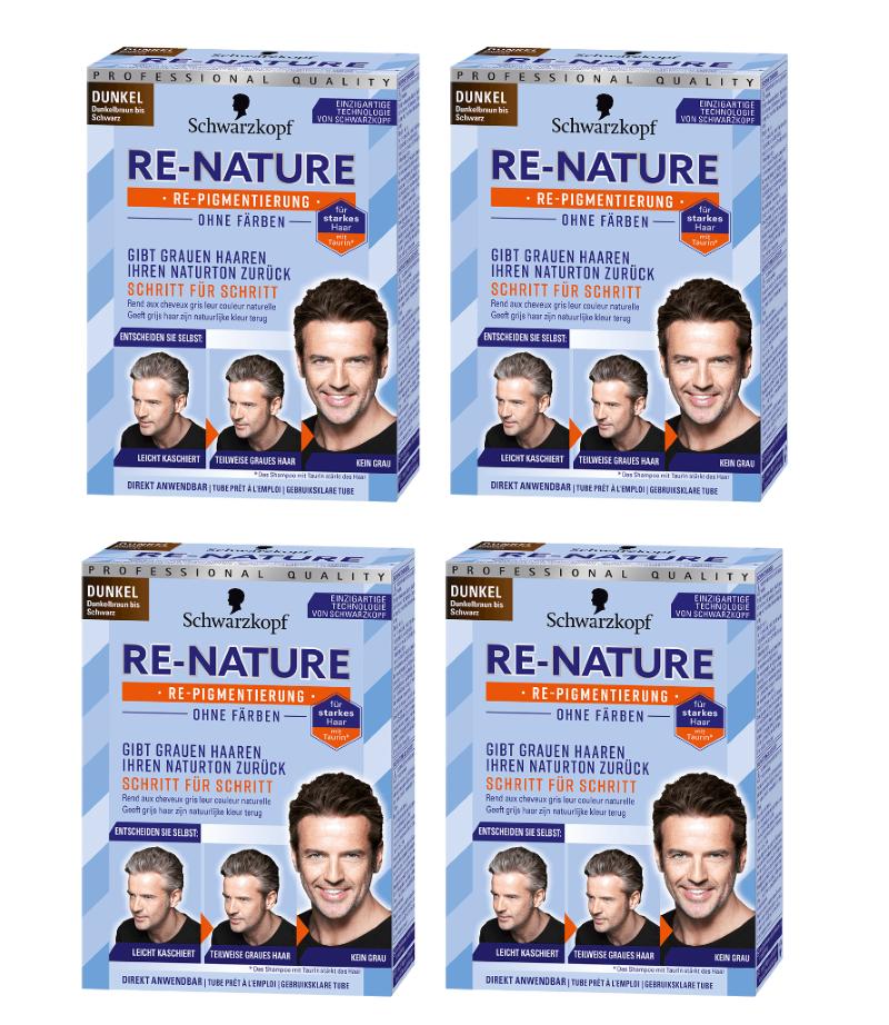 4 x Schwarzkopf Re-Nature Re-Pigmentierung für Männer Dunkel ohne Färben!