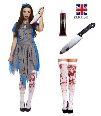 Ladies HORROR ALICE In Zombieland Halloween Fancy Dress Up Party Zombie - Horror Dress Up Kostüm