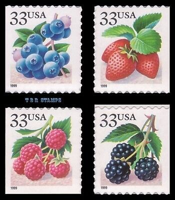 FRUIT BERRIES 3298-3301 SINGLES DIECUT 9.5X10 FROM VENDING BK276A MNH - BUY NOW