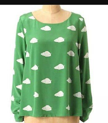 Anthropologie Charlotte By Charlotte Taylor Top Size 8 Green Snail Print New
