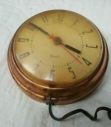 Vintage Westclox Spice Kitchen Clock Electric Wall 7 Copper Metal