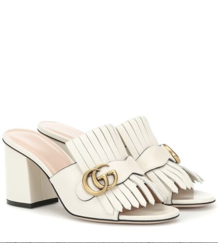 Gucci Marmont Leather Gold GG Fringe Block Heel Mule Sandal Pump 37.5/ 7.5