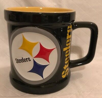 Pittsburgh Steelers Ceramic 11 oz 3-D Raised Logo Relief Coffee Mug Unused -