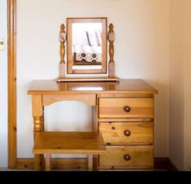 Pine Dressing Table, Stool and Mirror